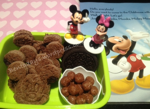 Chocolate Mickey breakfast  - chocolate bread, Oreos and Milo balls