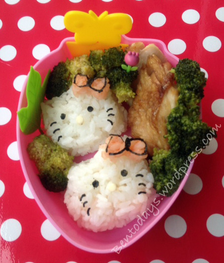 Hello Kitty shaped onigiri for bento lunch