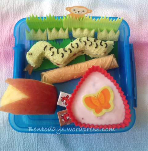 Snake bento for breakfast, made with pandan bread. Also good as lunch bento