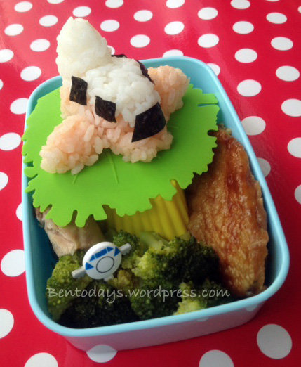 Bento lunch - Onigiri plane to Shanghai shaped freehand , coloured with deco-furi