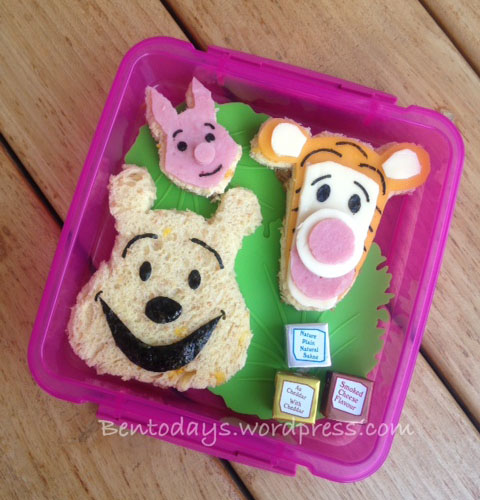 Winnie the Pooh, Tigger, Piglet for breakfast in celebration of A. A. Milne's birthday on 18 January. A bento using bread, cheese and ham