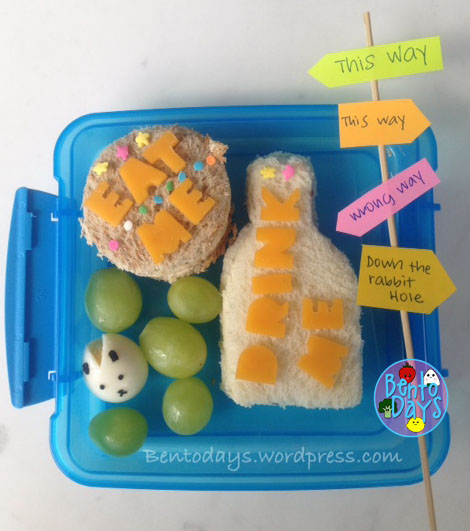 "Alice in Wonderland cute lunch bento - Down the Rabbit Hole. ""Eat me"" ""Drink me"" and the white rabbit"