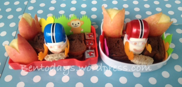 Race car drivers lunch bento. Egg topped with helmet.