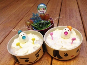 Melting snowman bento - made of egg whites and quail eggs