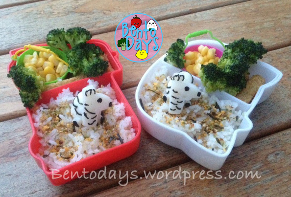 cute Zebra lunch bento made from quail eggs and fishball , with furikake and rice