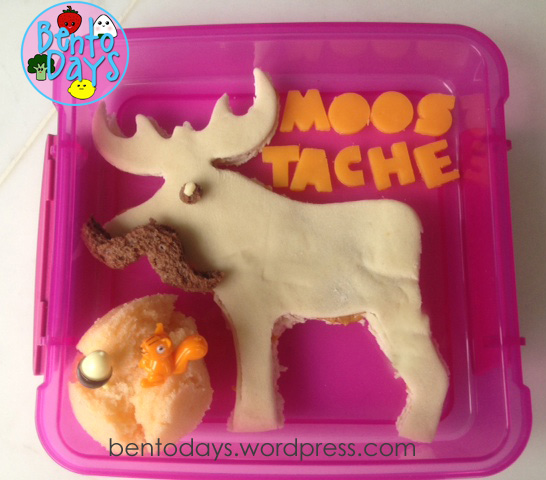 Cute snack bento for kids. Moostache snack bento - moose with a moustache. Made with pita bread and peanut butter