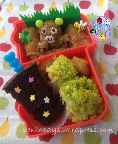 Groundhog Day cute lunch bento for kids - rice, inari
