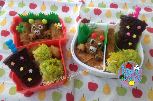 Groundhog Day cute lunch bentos for kids - rice, inari