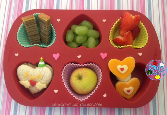 Valentines cute lunch bento for kids in muffin tray