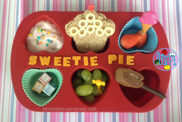 lunch on a muffin tray, muffin tray, muffin tin monday, cute lunch bento for kids, cupcake sandwich, confectionary theme, sweets theme, sweets and treats