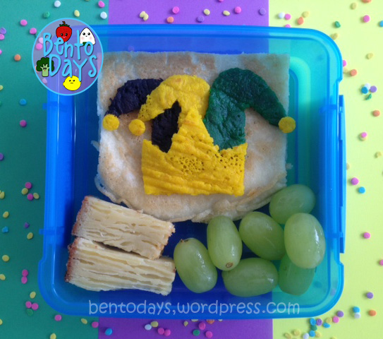 Fat Tuesday pancakes, Shrove Tuesday pancakes, Mardi Gras pancakes, cute snack bento for kids