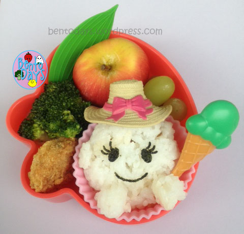 Cute lunch for kids, cute bento for kids, Lunch bento with little girl onigiri, onigiri for kids, summer theme onigiri, ice cream theme