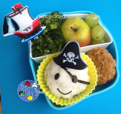 Cute lunch for kids, cute bento for kids, Lunch bento with pirate onigiri (rice ball), pirate theme lunch for kids
