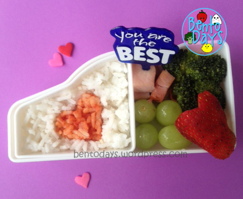 cute lunch bento for kids, cute bento for kids, Valentines bento from Mommy to kids - I love you.