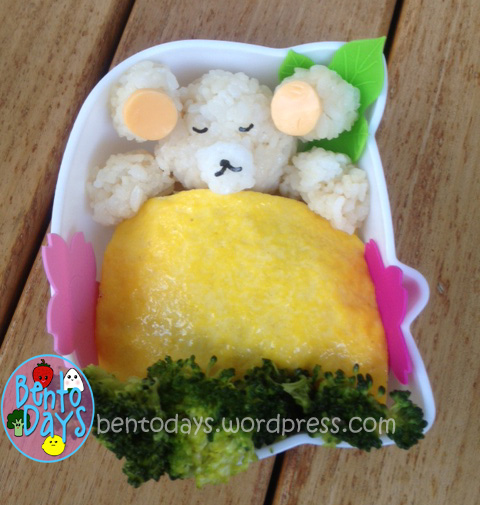 cute lunch bento for kids, cute sleeping bears, sleeping bears onigiri