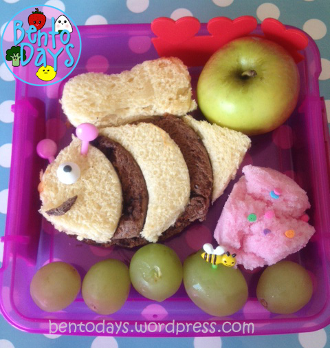 cute lunch bento for kids - Bee sandwich made with alternating stripes of butterscotch bread and chocolate bread
