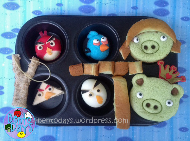 Angry birds bento, Angry birds lunch, Angry birds muffin tray, Cute Angry Birds for kids, Cute lunch bento for kids,