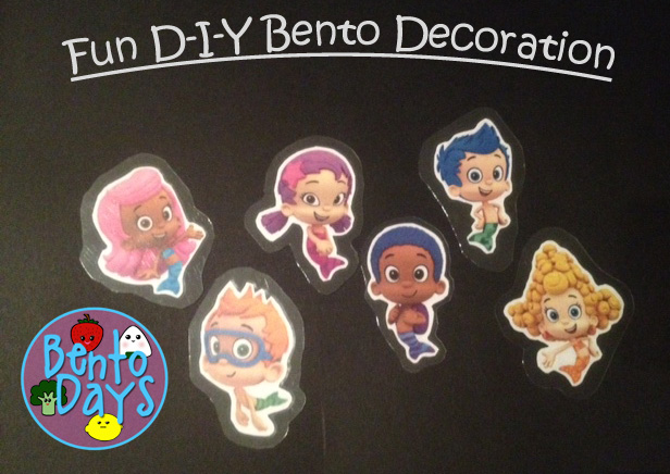 Bento tutorial to make your own bento picks.  How to make home-made bento decoration (Bubble Guppies)