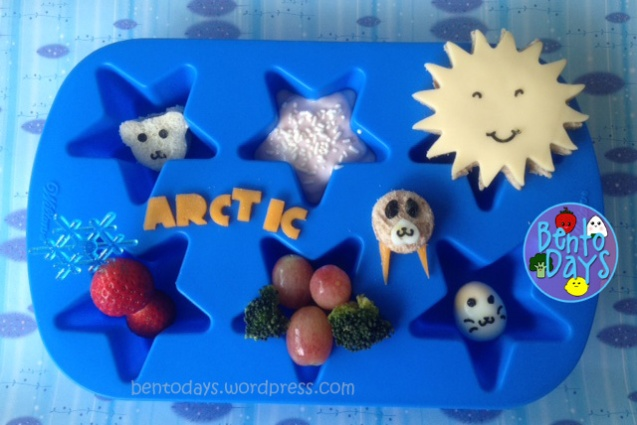 cute lunch bento for kids, All about the Arctic in a Muffin Tin, polar bear sandwich, seal egg, global warming,