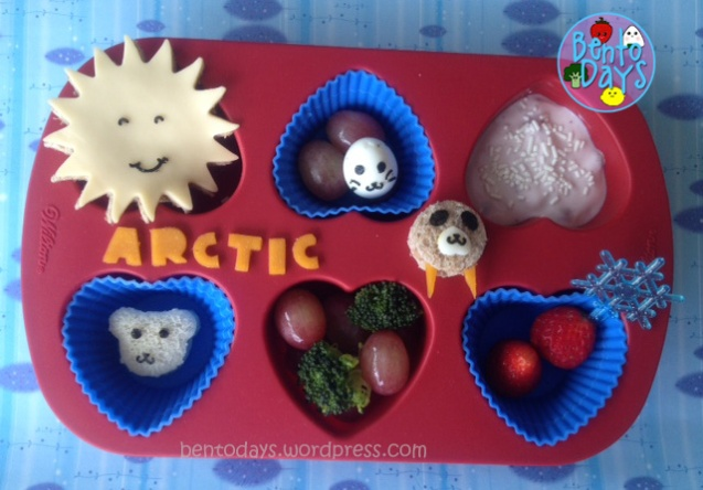 cute lunch bento for kids, all about the Arctic in a muffin tin, global warming, walrus sandwich, polar bear sandwich, seal egg,