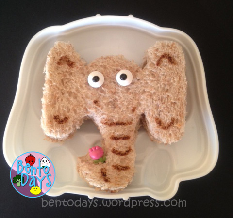 cute lunch bento for kids for Read Across America Day. Seuss themed lunch - sandwich from Horton Hears A Who