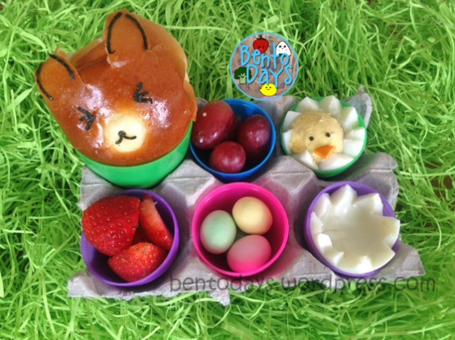 Easter lunch in egg tray using Easter eggs. Cute lunch idea for kids