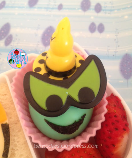Cute lunch bento for kids, based on Oz- The Great and Powerful: Wicked Witch made out of hardboiled egg. (Disney movie remake of The Wizard of OZ)