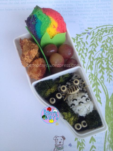Cute lunch bento for kids - Totoro (Japanese cartoon, anime) made of onigiri