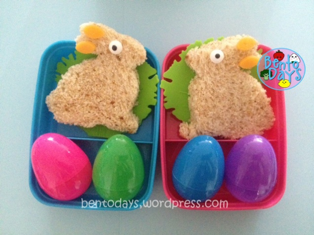 Easter bento with bunnies sandwiches and Easter eggs. Bread was made using tangzhong method.