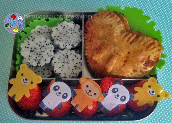 Cute snack bento for kids - Strawberry pie for Pi Day (3.14) on March 14th