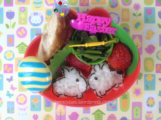 Cute lunch bento for kids or for kids parties - Easter bento with a pair of onigiri rabbits