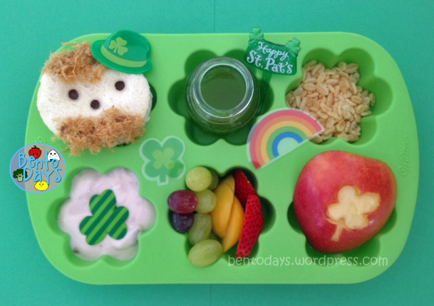 cute St Patrick's Day lunch bento for kids - presented in a muffin tray (leprechaun, shamrock, rainbow and more)