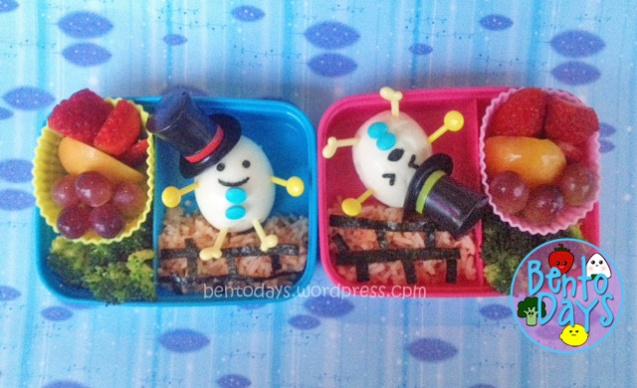 Cute lunch bento for kids based on the nursery rhyme: Humpty Dumpty sat on a wall, Humpty Dumpty had a great fall.