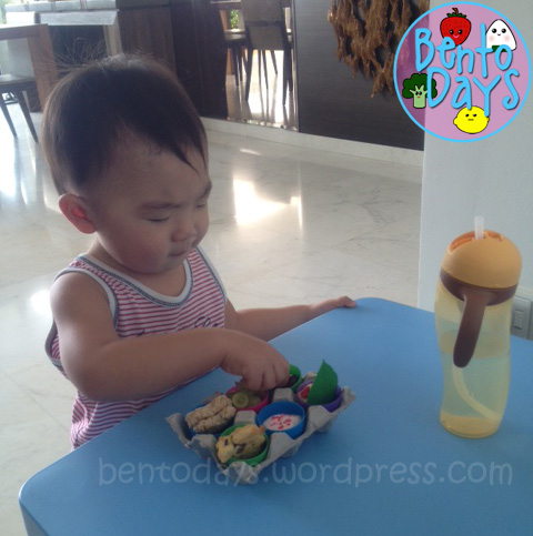 Lunch bento for 18 month baby. Enjoying his easter lunch bento