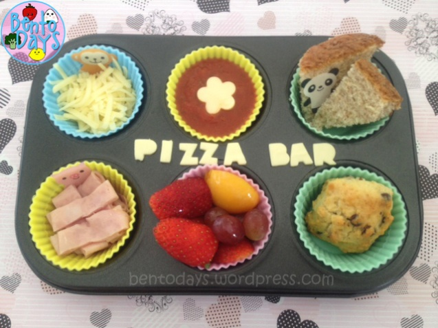 pizza bento. Fast simple lunch idea for kids - fun DIY pizza (deconstructed pizza), pizza bar in a muffin tray