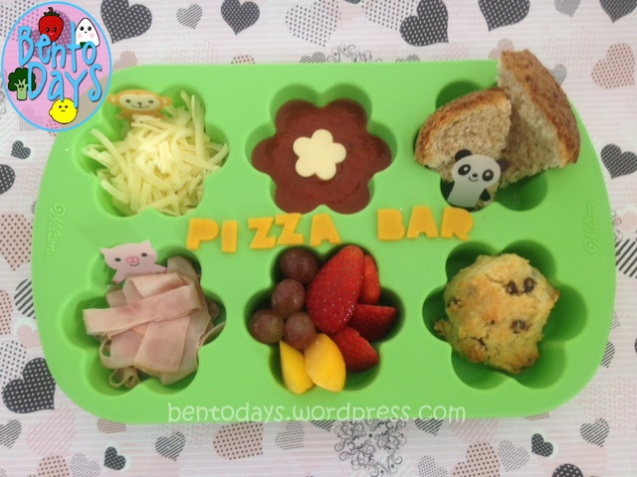 Fast simple lunch idea for kids - fun DIY pizza (deconstructed pizza), pizza bar in a muffin tray
