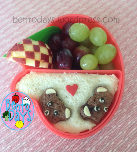 Bear sandwich, cute snack bento for kids, using Nutella sandwich and chocolate bread