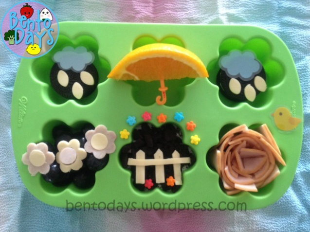 Muffin Tin Monday bento lunch - April showers May flowers (spring theme)