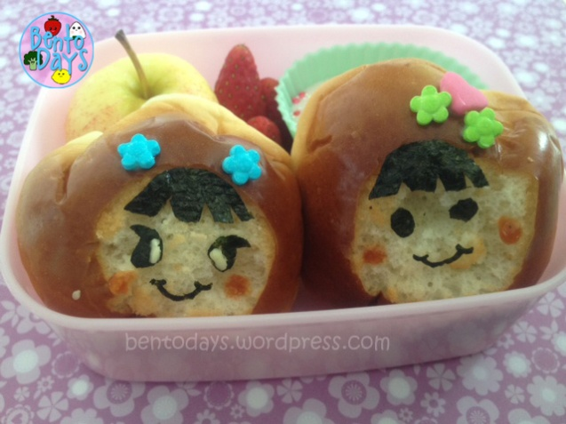 Girls bread, girls faces decoration on bread bun (bao, pao), cute lunch idea for kids