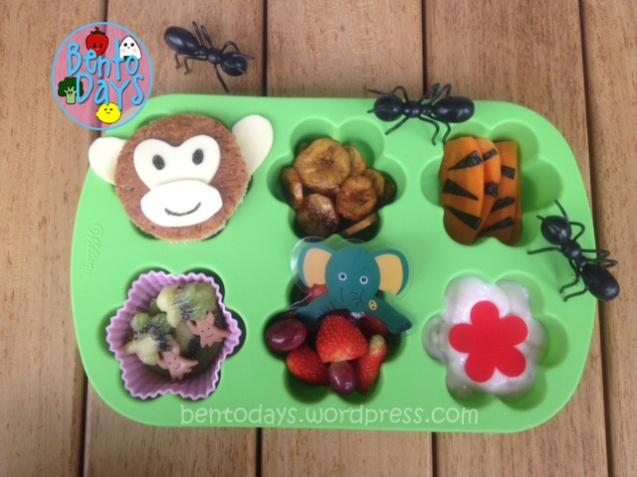 Jungle lunch, muffin tin monday, monkey, elephant, tiger, cute fun lunch for kids