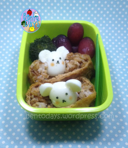 Bento of mice peeking out of ground, using quail eggs and inari. Cute lunch bento for kids, baby .