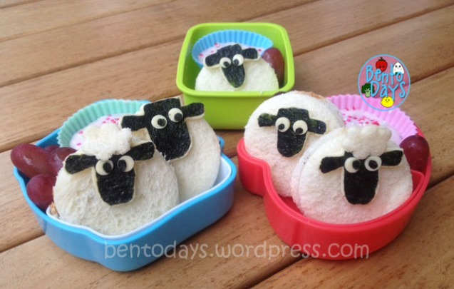 Cute food for kids - Shaun the Sheep (cartoon0 lunch bentos using Nutella sandwiches