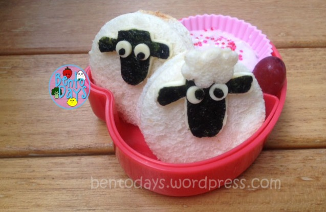 Cute food for kids - Shaun the Sheep lunch bentos using Nutella sandwiches