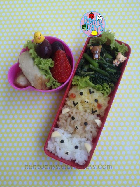 Rilakkuma, Korilakkuma, Kiiroitori bento rice, onigiri, block, cute lunch idea for kids