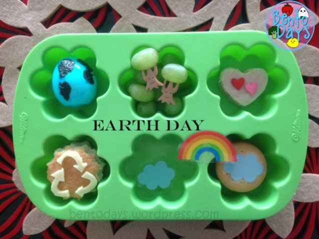 Earth Day bento lunch in a muffin tray