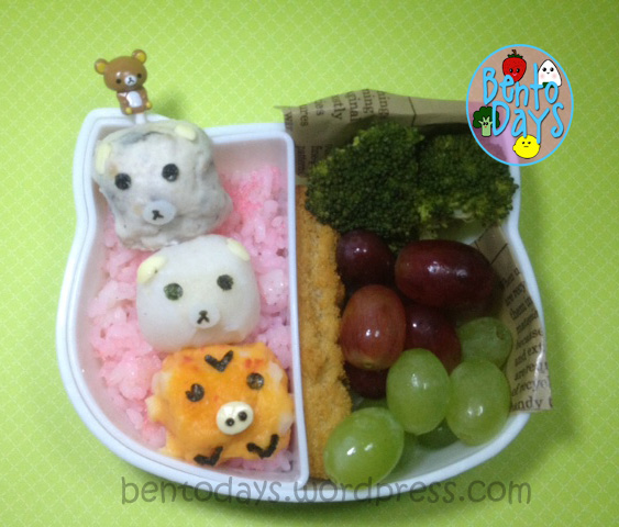 Rilakkuma dango, korilakkuma dango, kiiroitori dango, a cute bento lunch for kids