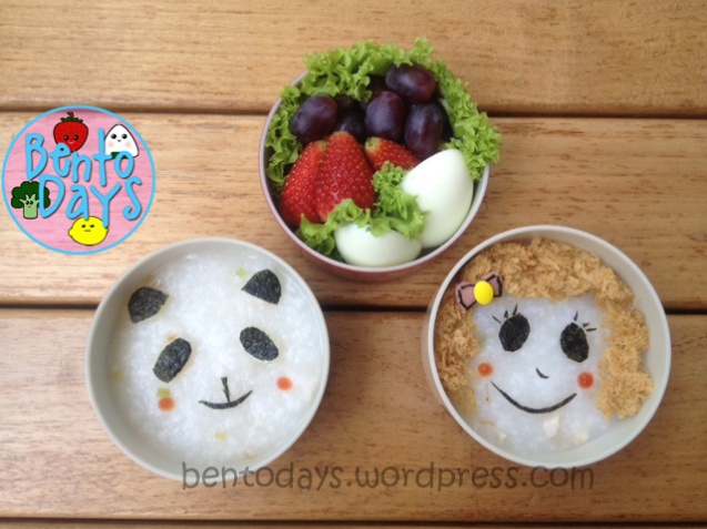 cute lunch for baby, porridge congee decoration, 3 ways to decorate porridge, cute fast lunch idea for kids
