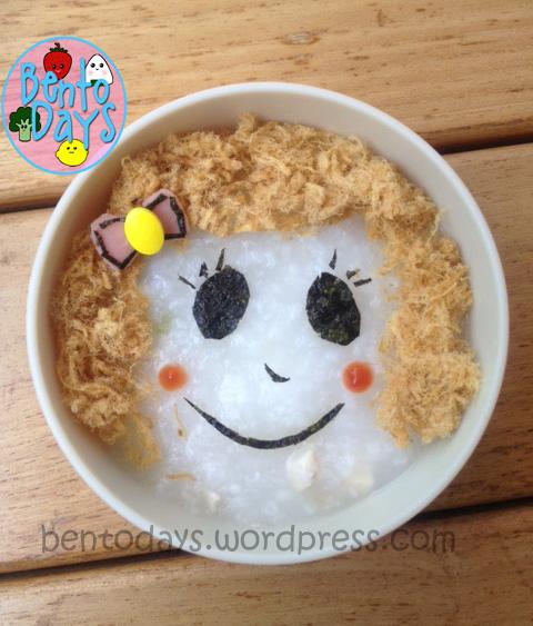 Girl face porridge congee decoration, 3 ways to decorate porridge, cute fast lunch idea for kids