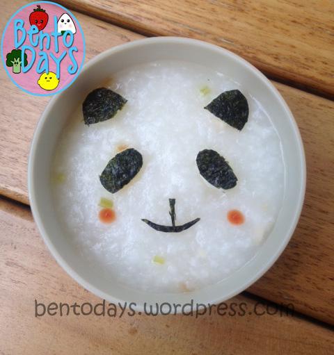 Panda porridge congee decoration, 3 ways to decorate porridge, cute fast lunch idea for kids