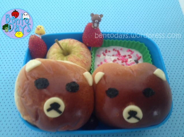 Rilakkuma bread bun, red bean bun (bao/ pao), cute lunch idea for kids